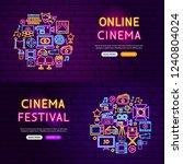 cinema website banners. vector... | Shutterstock .eps vector #1240804024