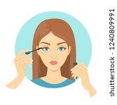 woman apply mascara for beauty...   Shutterstock .eps vector #1240809991