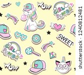 fashion patch badges with cat... | Shutterstock .eps vector #1240812481