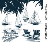 sailing yacht sketch vector of... | Shutterstock .eps vector #1240836967