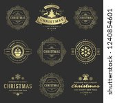 christmas labels and badges... | Shutterstock .eps vector #1240854601