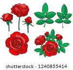 set of beautiful hand drawn red ... | Shutterstock .eps vector #1240855414