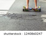 colored hoverboard  child using ... | Shutterstock . vector #1240860247