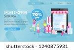online shopping landing page. e ... | Shutterstock .eps vector #1240875931
