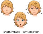 a set of emotions by a cute... | Shutterstock .eps vector #1240881904