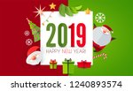 happy new 2019 year  cute paper ... | Shutterstock .eps vector #1240893574
