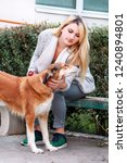 Stock photo beautiful girl with his shetland sheepdog dog sitting and posing in front of camera on wooden bench 1240894801
