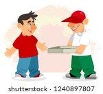 vector illustration of pizza... | Shutterstock .eps vector #1240897807
