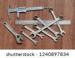 set of wrenches  caliper  ruler ... | Shutterstock . vector #1240897834