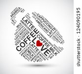 coffee cup typography words... | Shutterstock .eps vector #124090195