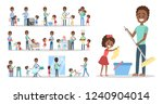 man clean home and doing a... | Shutterstock .eps vector #1240904014