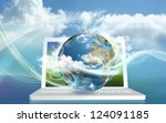 cloud computing from a laptop... | Shutterstock . vector #124091185