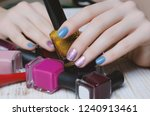 beautiful female hands with... | Shutterstock . vector #1240913461