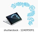 notebook decoration with blue... | Shutterstock .eps vector #124095091