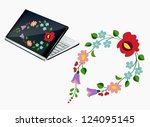 notebook decor with beautiful... | Shutterstock .eps vector #124095145