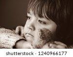 black and white photo of upset... | Shutterstock . vector #1240966177