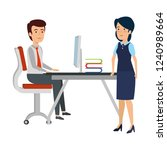 business couple in the workplace   Shutterstock .eps vector #1240989664