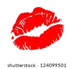 print of red lips. vector... | Shutterstock .eps vector #124099501