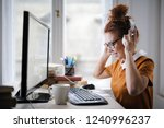 young woman taking on a... | Shutterstock . vector #1240996237