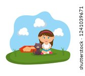 cute cat and girl with sandbox | Shutterstock .eps vector #1241039671