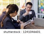 business team have a meeting in ... | Shutterstock . vector #1241046601