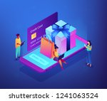 customers with gadgets order... | Shutterstock .eps vector #1241063524