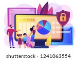 parents with children using... | Shutterstock .eps vector #1241063554