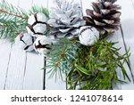 christmas decoration evergreen... | Shutterstock . vector #1241078614
