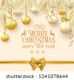 yellow merry christmas and... | Shutterstock .eps vector #1241078644