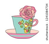 elegant cup and saucer. on the... | Shutterstock .eps vector #1241084734