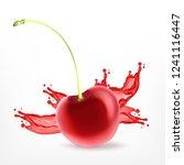 fresh ripe cherry with juice.... | Shutterstock .eps vector #1241116447