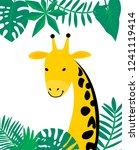 a cute character of giraffe... | Shutterstock .eps vector #1241119414