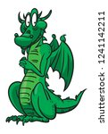 funny cartoon dragon stands on... | Shutterstock .eps vector #1241142211
