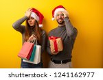couple or friends holding gifts ... | Shutterstock . vector #1241162977