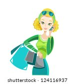 blonde woman with shopping bugs ... | Shutterstock .eps vector #124116937