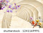 colorful flowers on braches on... | Shutterstock . vector #1241169991