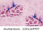 Pink Flowers And Butterfly On...