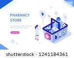 pharmacy store concept. can use ... | Shutterstock .eps vector #1241184361