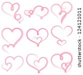 set of  hearts on white... | Shutterstock .eps vector #124121011