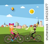 man and woman on bicycle with... | Shutterstock .eps vector #1241213377