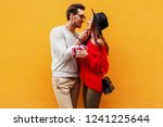 adorable young couple in love. ... | Shutterstock . vector #1241225644