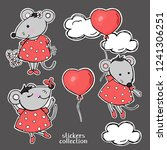 set with cute funny mice. mouse ...   Shutterstock .eps vector #1241306251