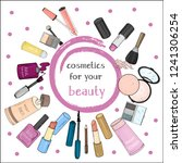 set with women's cosmetics on a ...   Shutterstock .eps vector #1241306254