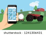 a farmer with phone controls a... | Shutterstock .eps vector #1241306431