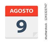 agosto 9   calendar icon  ... | Shutterstock .eps vector #1241323747