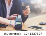 close up of businessman paying... | Shutterstock . vector #1241327827