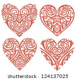 vector set of decorative hearts | Shutterstock .eps vector #124137025