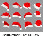 big set of realistic santa hats ... | Shutterstock .eps vector #1241373547