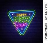 happy new year neon text ... | Shutterstock .eps vector #1241377141