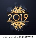 happy new year 2019 text design....   Shutterstock .eps vector #1241377897